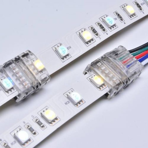 10mm 5 pin led connectors rgbw for 5050 rgb white led strip light connection IP20 non-waterproof se-n12xb-5