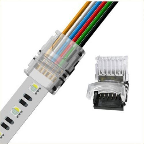 12mm 6 pin led connectors rgbww for 5050 rgb cct led strip lights connection IP54 ip65 waterproof dj-n12xb-6