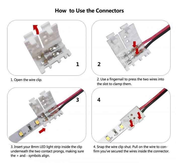 3528 2835 2 Pin 8mm LED strip lightConnectors