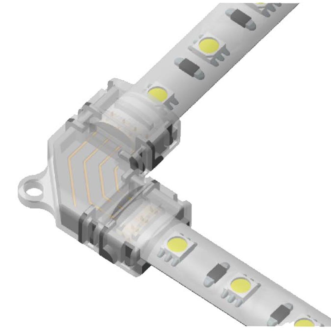 4 Pin RGB Led Light Connectors 10mm L Shape Right Angle Corner Connector Solderless Adapter Terminal for 5050 Multicolor LED Strip Lights