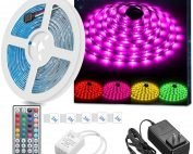 LED Strip Light Waterproof 16.4ft RGB SMD 5050 LED Rope Lighting Color Changing Full Kit with 44-Keys IR Remote Controller